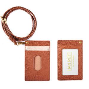 카드 목걸이 지갑-갈색